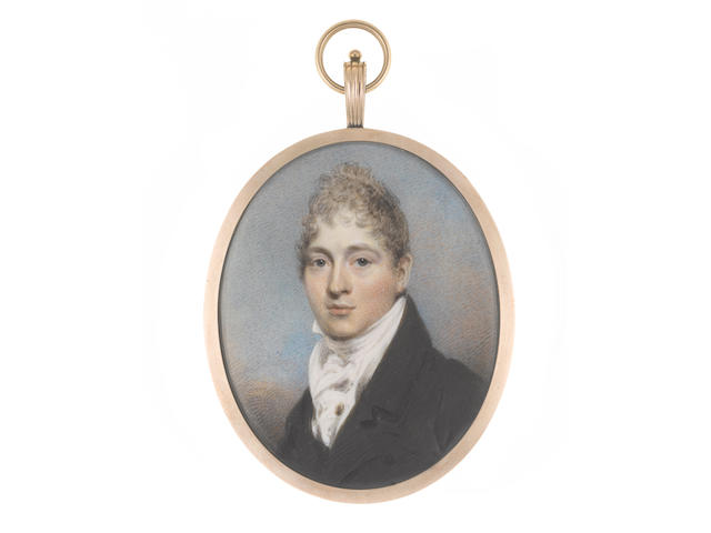 William Wood (British, 1769-1810) A Gentleman, wearing black coat, white waistcoat, stock and cravat, a gold shirt pin to his chemise, his hair lightly powdered and cropped