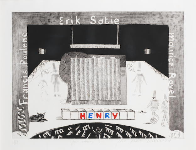 David Hockney R.A. (British, born 1937) A Souvenir for a Triple Bill for Henry Etching with aquatint and hand colouring in watercolour, 1982, on wove, inscribed 'For Henry G. (Geldzahler) love from David H' and numbered 138/300 in pencil, with margins, 395 x 535mm (15 1/2 x 21in) (PL)