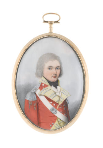 Frederick Buck (Irish, 1771-circa 1840) An Officer, wearing scarlet coat with pale yellow facings and standing collar, silver epaulettes, his white cross-belt bearing oval regimental belt-plate worn over his right shoulder, white frilled chemise and black stock, his hair powdered