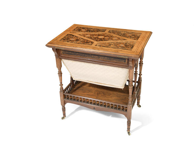 A Victorian rosewood, calamander and marquetry worktable
