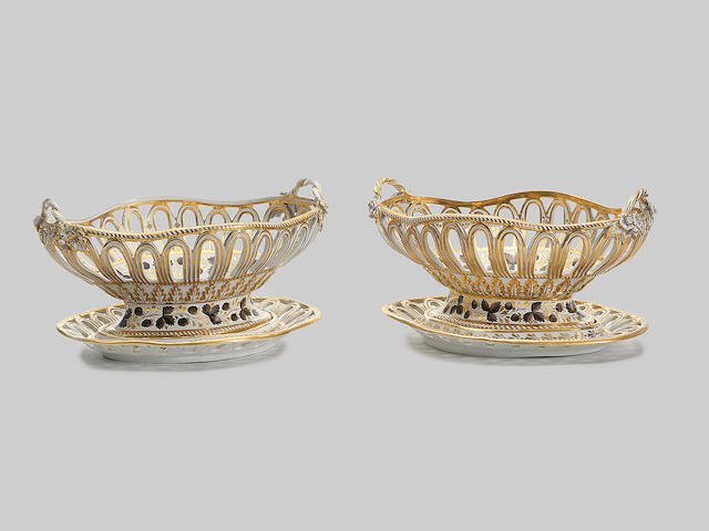 A fine pair of early Chamberlain Worcester baskets and stands, circa 1795-1800