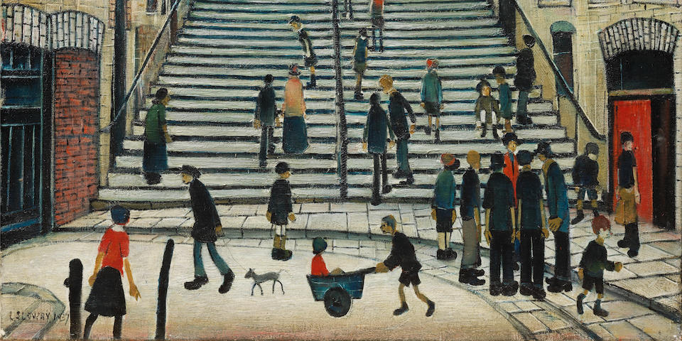 Laurence Stephen Lowry R.A. (British, 1887-1976) Steps at Wick 43.2 x 53.3 cm. (17 x 21 in.)
