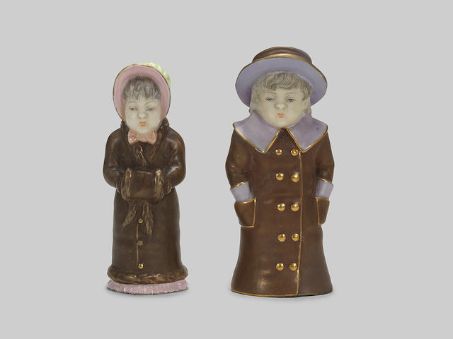 Girl with muff and Boy with Boater: a pair of Royal Worcester candle extinguishers, dated 1884