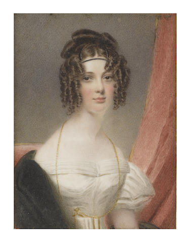 Thomas Hargreaves (British, 1775-1846) A Lady, called Clementina Herbert née Beckwith (d.1864), seated before red drapery and wearing white décolleté dress, her black stole draped over her right shoulder, a monocle on a gold chain suspended from her neck and tucked into her waist belt, the back of her brown hair upswept, the front curled in ringlets and dressed with a black bandeau