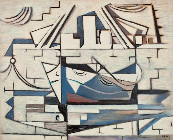 Nikos Hadjikyriakos-Ghika (Greek, 1906-1994) Boat 81 x 100 cm.