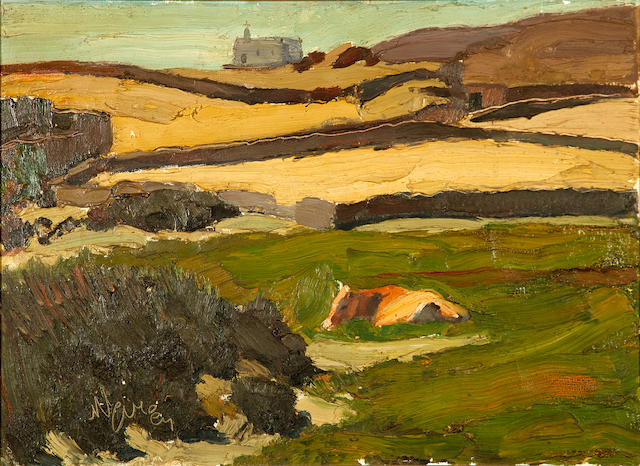 Nikolaos Lytras (Greek, 1883-1927) The Meadow (Tinos) 52 x 71 cm.