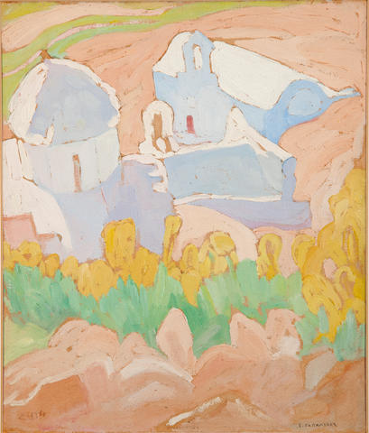 Spyros Papaloukas (Greek, 1892-1957) View of Mesohora, Aegina 24.5 x 20.5 cm.