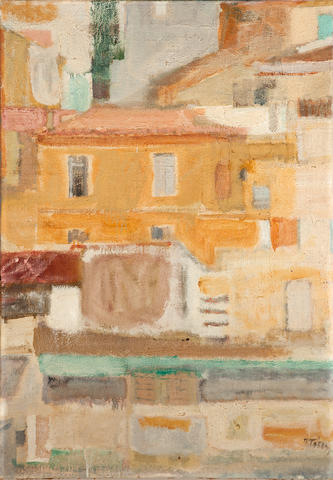 Panagiotis Tetsis (Greek, born 1925) Houses in Athens 98 x 68 cm.