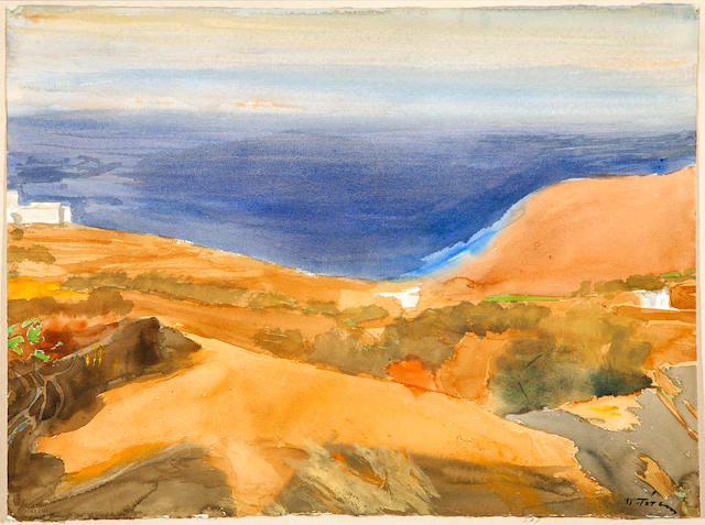 Panagiotis Tetsis (Greek, born 1925) View of Sifnos 56.5 x 76 cm.