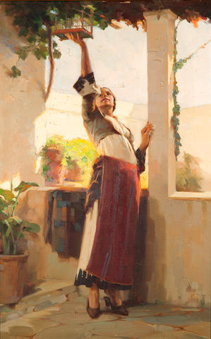 Apostolos Geralis (Greek, 1886-1983) Feeding the bird 70 x 44.5 cm.