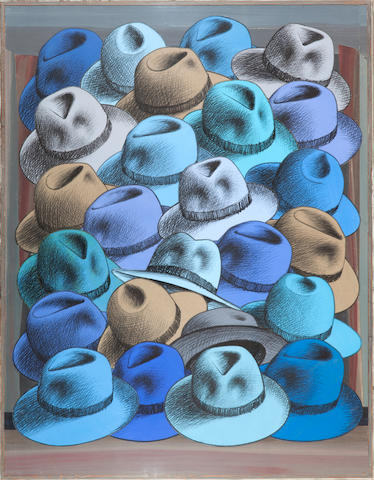Pavlos (Dionyssopoulos) (Greek, born 1930) Hats 112 x 86.5 x 4 cm.