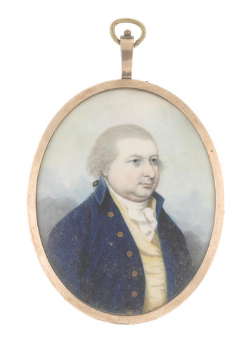 Frederick Buck (Irish, 1771-circa 1840) A Gentleman, wearing blue coat, pale yellow waistcoat, white frilled chemise and stock, his hair powdered and tied with black ribbon