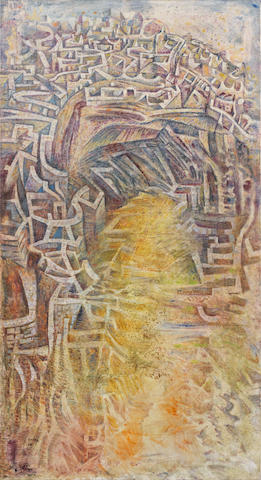 Nikos Hadjikyriakos-Ghika (Greek, 1906-1994) City on a Hill 142 X 77 cm.