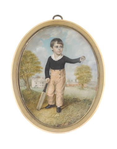 Walter Stephens Lethbridge (British, 1771-circa 1831) A Young Boy, standing before a house and stables, wearing black shoes, buff breeches, dark blue jacket and white collar with frilled edge, his cricket bat in his right hand, a ball held aloft in his left
