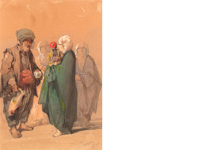 Vittorio Amadeo Preziosi (Maltese, 1816-1882) The wine seller. Together with three similar watercolours by the same hand. (4)