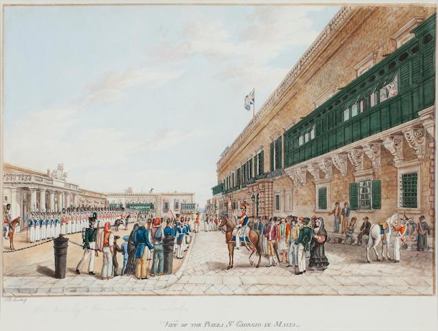 Charles Frederick de Brocktorff (Danish, 1775-1850) View of the Piazza St Giorgio, Malta