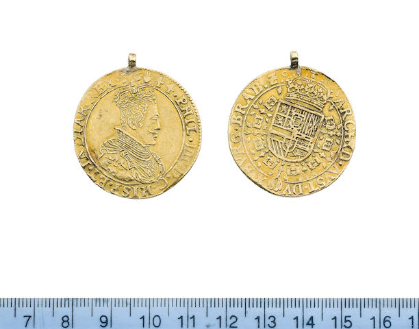 Spanish Netherlands, Two Souverain D'Or, 1644, Philip IV in flat collar right, m.m. hand,