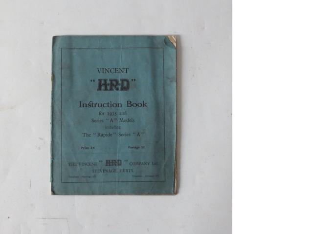 A 1935 Vincent HRD Series 'A' instruction book,