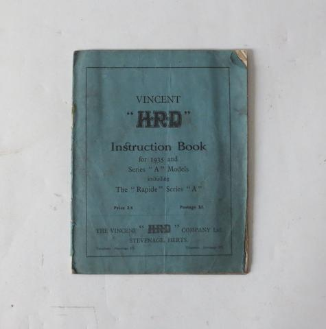 A 1935 Vincent HRD Series 'A' instruction book,