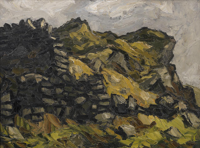 Sir Kyffin Williams R.A. (British, 1918-2006) Rocks, Tremadoc 50.8 x 68.6 cm. (20 x 27 in.)