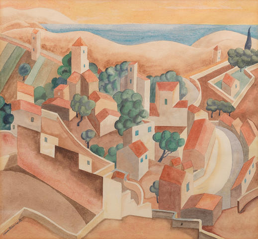 Edward Wadsworth (British, 1889-1949) Near Marseilles 31.8 x 34.9 cm. (12 1/2 x 13 3/4 in.)