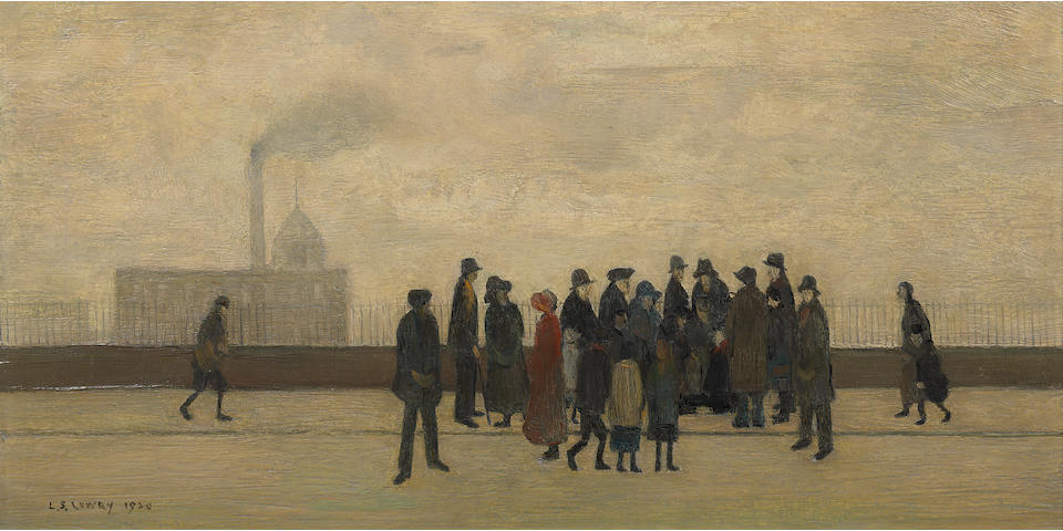 Laurence Stephen Lowry R.A. (British, 1887-1976) Sudden Illness 25.4 x 45.1 cm. (10 x 17 3/4 in.)