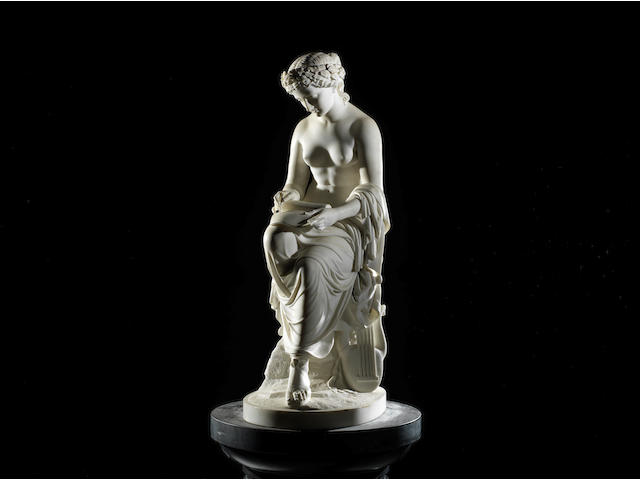 William Brodie, Scottish (1815-1881): A sculpted white marble figure of 'Corinna', also known as 'Corinna, the Lyric Muse'