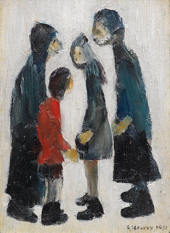 Laurence Stephen Lowry R.A. (British, 1887-1976) Family Group 22 x 16 cm. (8 5/8 x 6 1/4 in.)