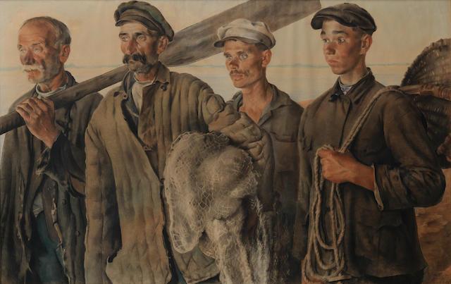 Evgeny Alexandrovich Katsman (Russian, 1890-1976) 'Fisher-kolkhozniks', 1930
