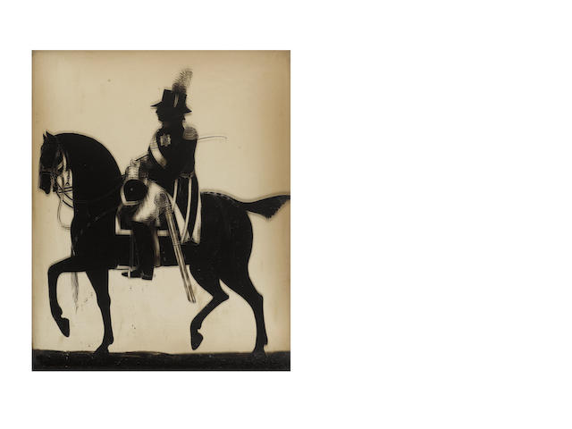 William Hamlet the Elder (British, active 1785-1816) A full-length silhouette of George III (1738-1820), King of Great Britain and Ireland (1760-1801) and King of the United Kingdom (1801-1820) on horseback, profile to the left, wearing boots, breeches and coat bearing the breast star of the Order of the Garter, epaulette and cross-belt bearing rectangular regimental belt-plate, his sheathed sword at his thigh, the reins to his horse in his left hand and a whip in his right