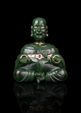 A gem-set and enamel hardstone magot (buddha)Fabergé, circa 1900, marked 'C. Fabergé' in Latin