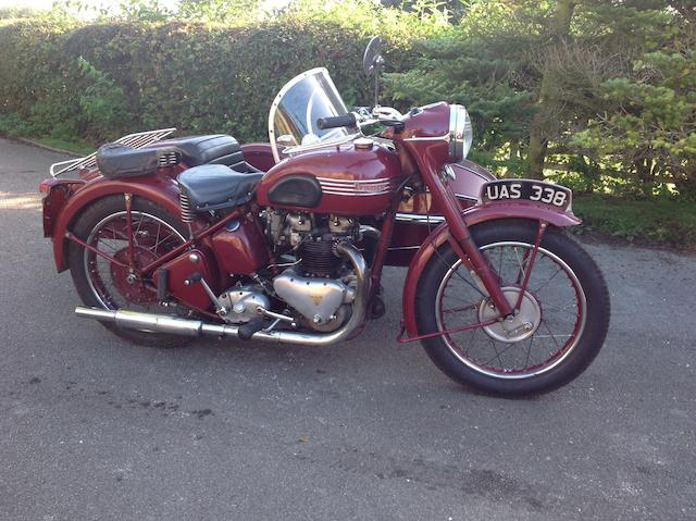 1950 Triumph 650cc Thunderbird Motorcycle Combination Frame no. 1119N Engine no. 6T 8473NA