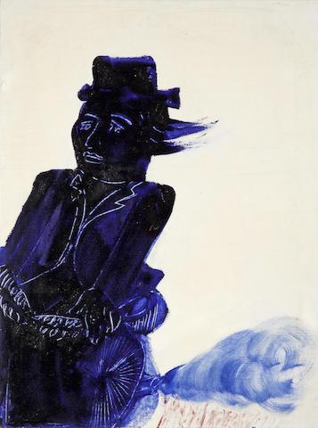 Alecos Fassianos (Greek, born 1935) Blue cyclist 80 x 60 cm.