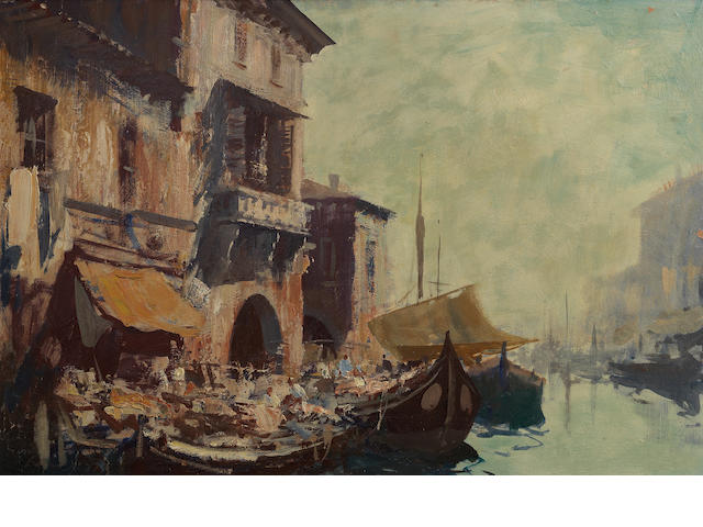 Edward Seago R.W.S. (British, 1910-1974) Early Morning, Chioggia 50.5 x 74.9 cm. (19 7/8 x 29 1/2 in.)