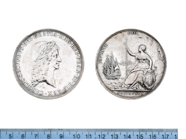 Peace with Holland 1667, Bust of Charles II laureate and draped CAROLVS. SECVNDVS. D.G. MAG. BRI. FRAN. ET. HIB. REX,