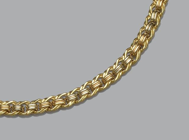 A yellow precious metal double curb-link necklace and matching bracelet (4)