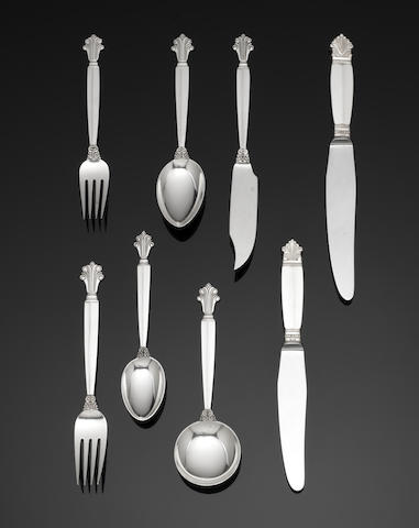 GEORG JENSEN: A silver Acanthus (Dronning) pattern table service of flatware incuse marks STERLING DENMARK, predominately import marks for London 1957 / 1959 (109)