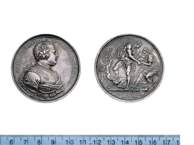 Battle of Culloden 1746, Bust of George II right, armoured. GULIELMUS. GEOR. II R. FIL. DUX. CUMBRIAE.
