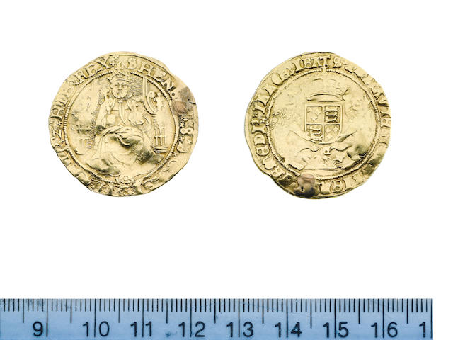 Henry VIII (1509-47), third coinage (1544-47), Half Sovereign, 6.14g, Southwark, king with bearded portrait seated facing on throne, holding orb and sceptre, rose below, reads HENRIC 8,