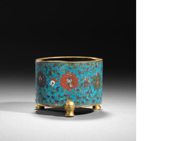 A gilt-bronze and cloisonné enamel tripod incense burner Ming dynasty