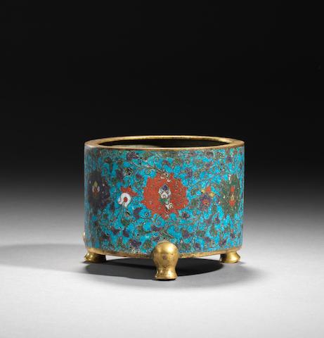A gilt-bronze and cloisonné enamel tripod incense burner Ming dynasty