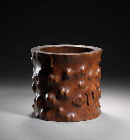 A huanghuali simulated-rootwood cylindrical brushpot Late Ming/early Qing dynasty