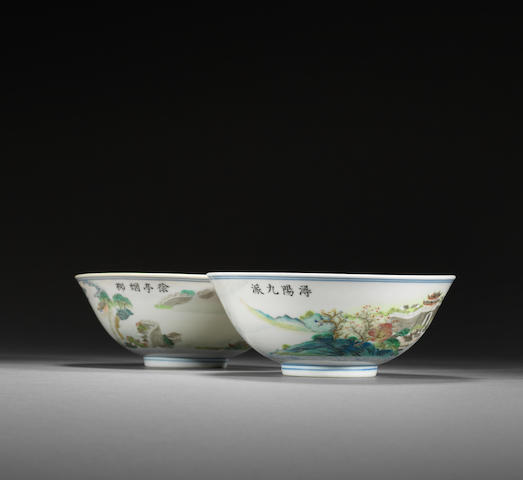 A fine pair of famille rose 'Jiangxi riverscape' bowls Jiaqing six-character marks and of the period