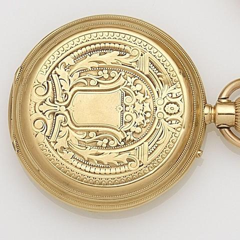Plojoux, Geneve. An 18ct gold keyless wind full hunter pocket watch with Geneva observation certificate Case No.2342, Circa 1900