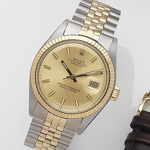 Rolex. A stainless steel and gold automatic calendar bracelet watch Datejust, Ref:1601, Serial No.291****, Movement No.D06****, Circa 1971