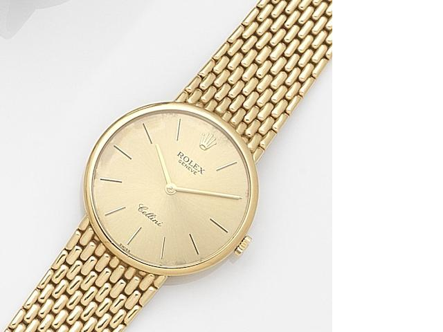 Rolex. An 18ct gold manual wind bracelet watch Cellini, Ref:5042, Serial No.X64****, Circa 1992