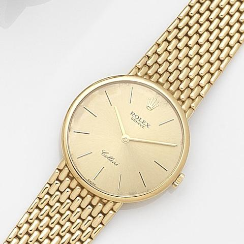 Rolex. An 18ct gold manual wind bracelet watch Cellini, Ref:5042, Serial No.X64****, Circa 1992