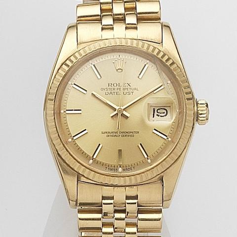 Rolex. An 18ct gold automatic calendar bracelet watch Datejust, Ref:1601, Serial No.347****, Movement No.D14****, Circa 1972