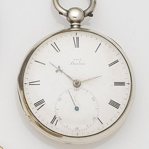 Barraud, Cornhill, London. A silver key wind open face pocket watch with duplex escapement Dial No.4305, Movement No.4699, London Hallmark for 1846