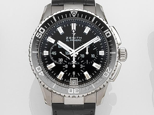 Zenith. A stainless steel automatic calendar chronograph wristwatch El Primero Stratos, Ref:03.2060.405/21.C714, Case No.143345, Movement No.350464, Recent